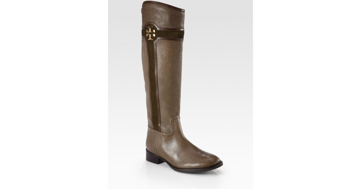 165a56a11ef837 Lyst - Tory Burch Alaina Leather and Suede Logo Kneehigh Boots in Brown
