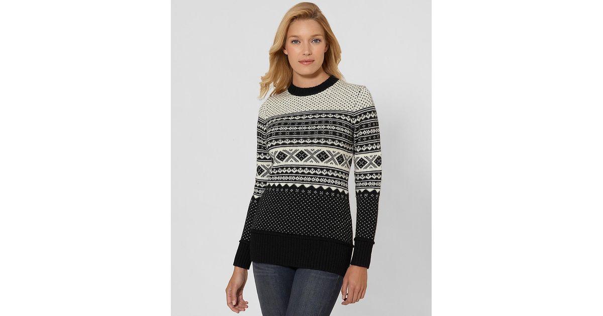 Brooks brothers Wool Fair Isle Tunic Sweater in Black | Lyst