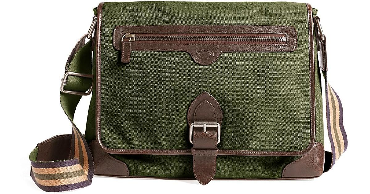 926194f04998 Lyst - Brooks Brothers Washed Canvas and Leather Buckle Messenger Bag in  Green for Men