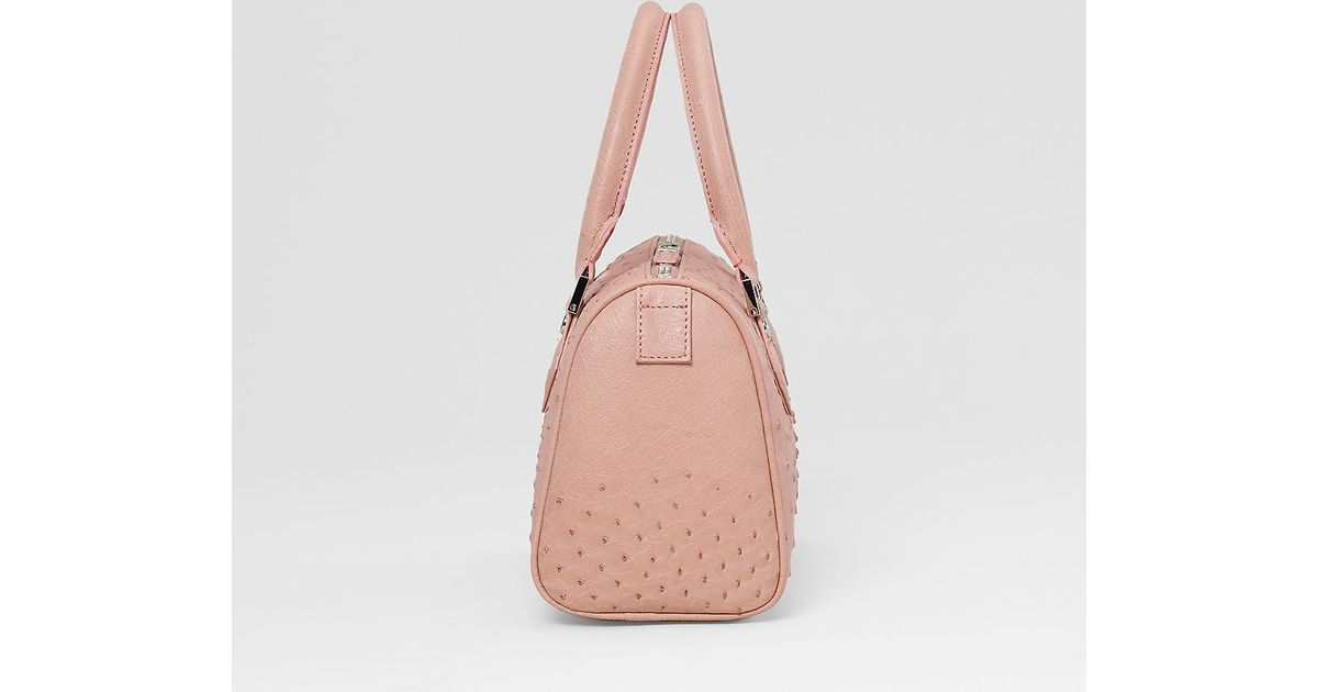 3763dc15ccd Brooks Brothers Ostrich Leather Mini Barrel Satchel in Pink - Lyst
