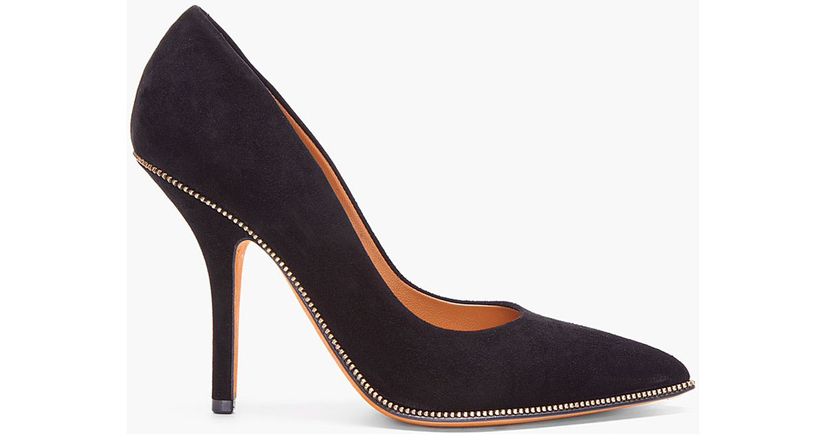 fc35ff4bc98a Lyst - Givenchy Black Suede Zip Heels in Black