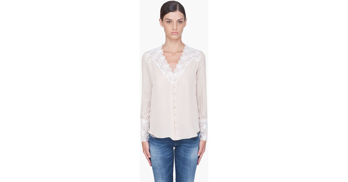 ed608a8d800 Haute Hippie Taupe Lace Trim Silk Blouse in Natural - Lyst