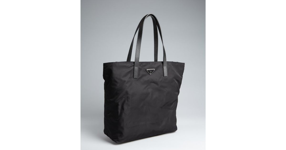 Prada Black Nylon Saffiano Leather Trim Tote in Black for Men | Lyst