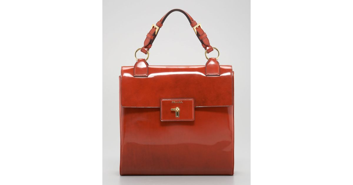 29da5d85a088 ... sale lyst prada spazzolato top handle bag in orange cbe34 2e578 ...