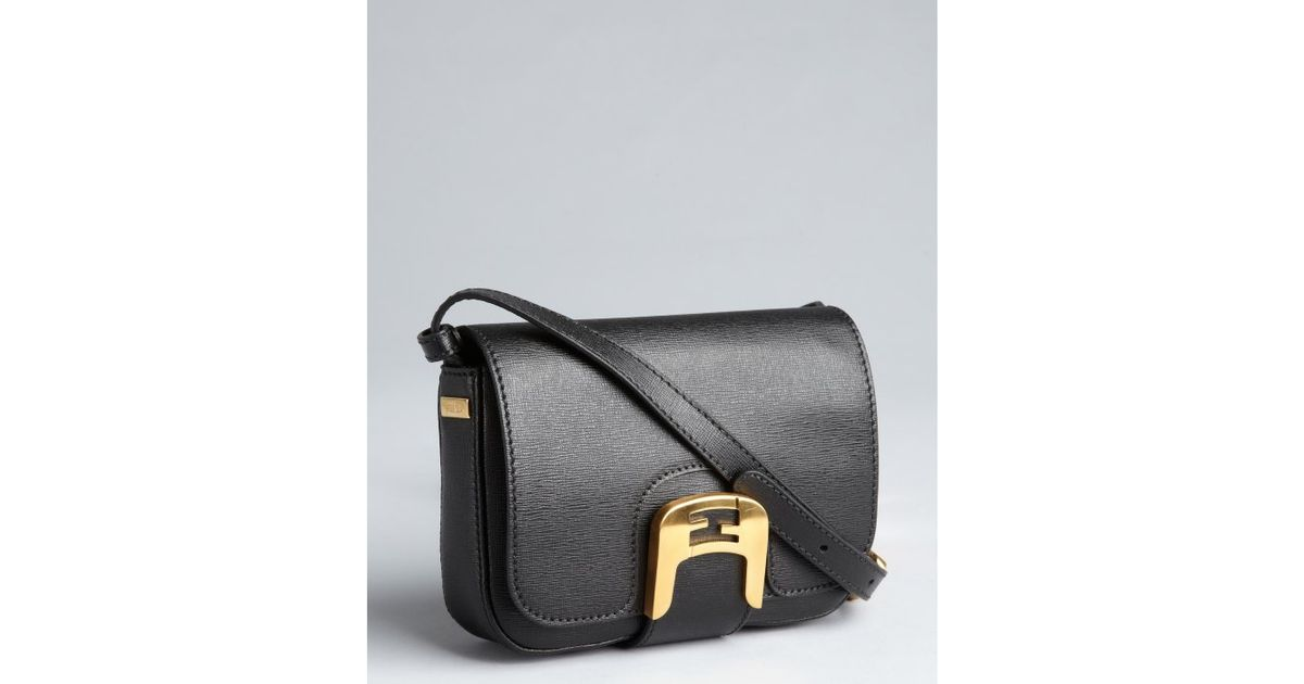 a0f3b7c866e8 Fendi Black Crosshatched Leather Chameleon Mini Crossbody Bag in Black -  Lyst