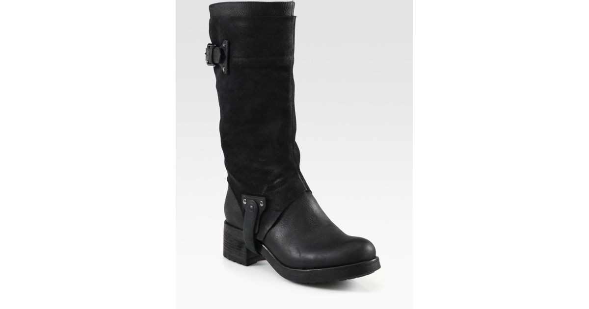 Vera Wang Lavender | Black Essie Leather and Suede Motorcycle Boots | Lyst