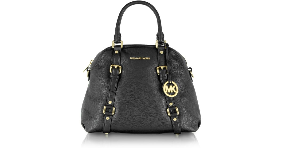 34fbf056536b ... store lyst michael kors bedford genuine leather bowling satchel bag in  black 67f47 a45a4