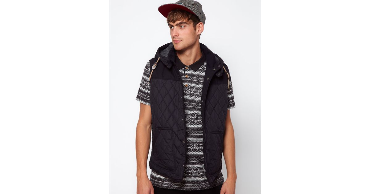 7ee8bb589f51 River Island Gilet with Quilted Padding in Black for Men - Lyst