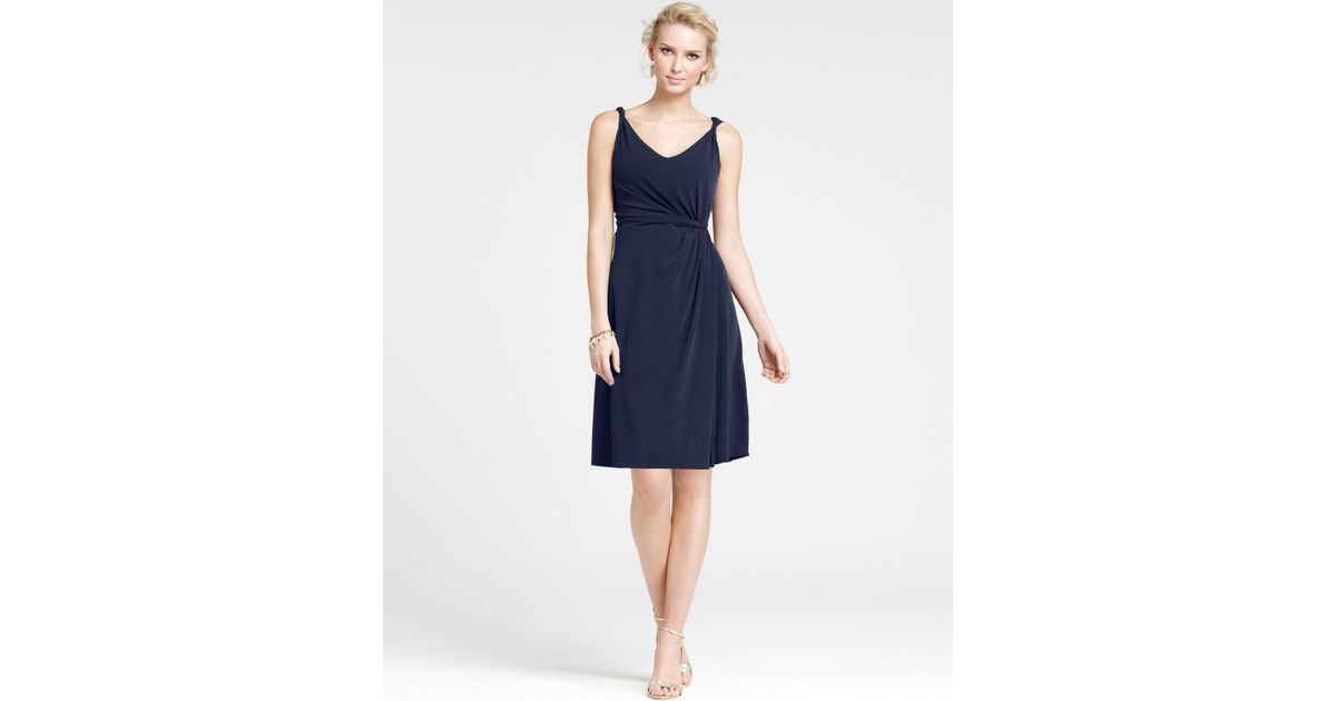 Lyst - Ann Taylor Jersey Twisted Strap Bridesmaid Dress in Blue