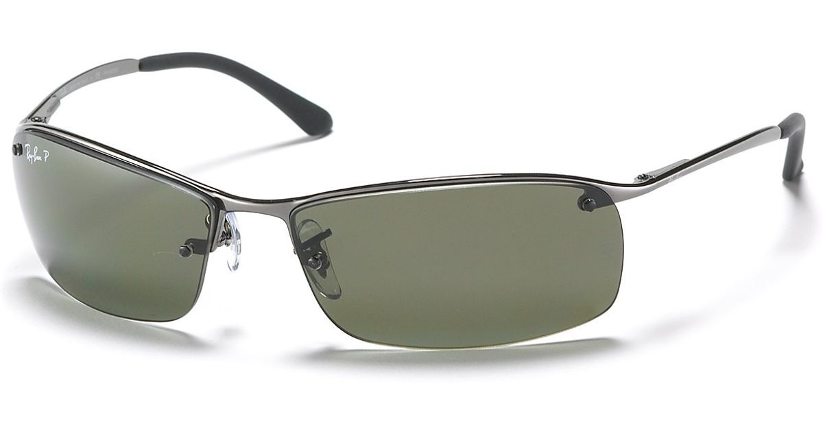 b1a7bd950b ... discount code for lyst ray ban rimless bottom polarized sunglasses in  gray for men 0f09a 6e9a8