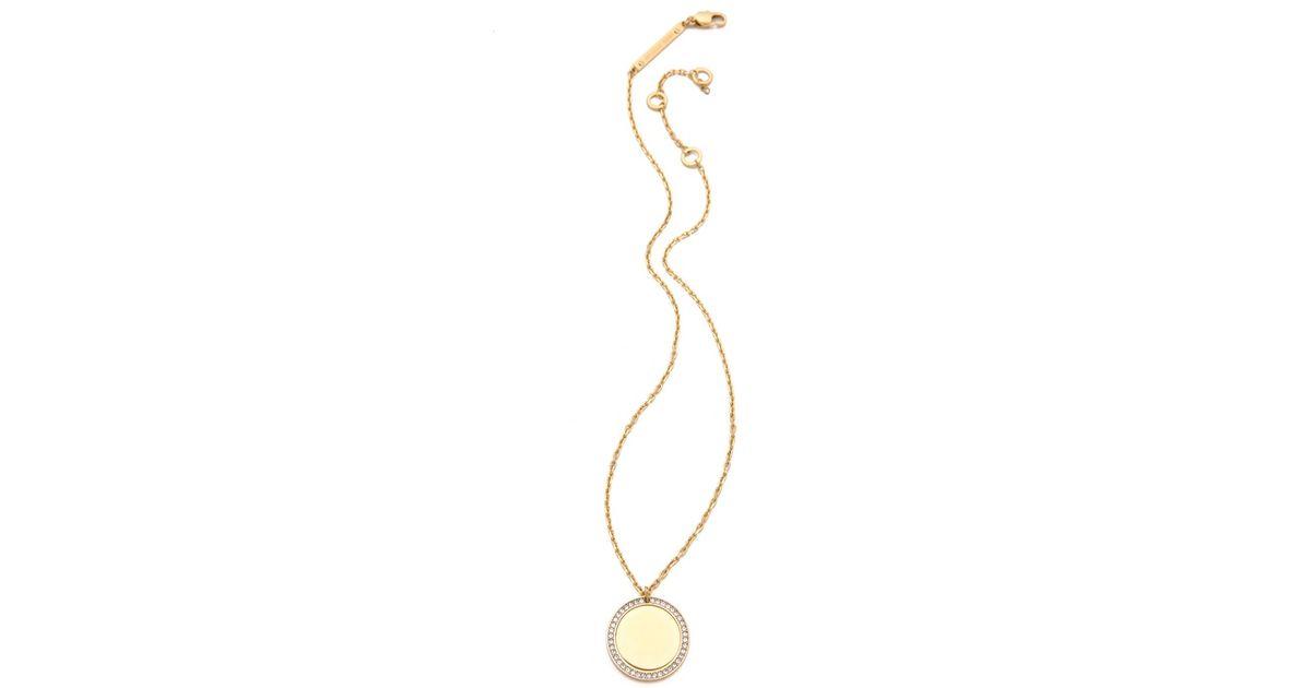 12879e11415f9 Lyst - Michael Kors Crystal Pavé Disc Pendant Necklace in Metallic