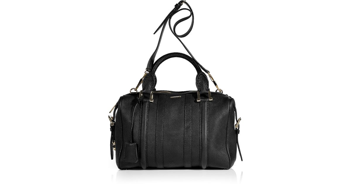 b9035990d1b Burberry Black Bowling Grain Leather Medium Nevinson Bag in Black - Lyst
