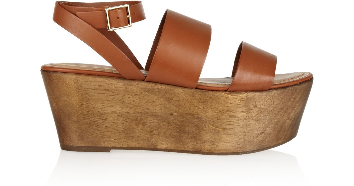e5ba9aa78382 Lyst - Elizabeth and James Bax Leather and Wood Platform Sandals in Brown