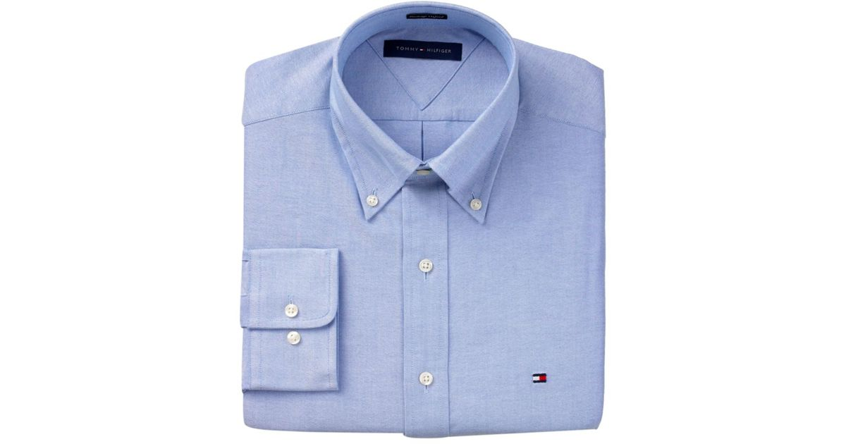 71e81321 Tommy Hilfiger Slim Fit Heritage Oxford Solid Long Sleeve Shirt in Blue for  Men - Lyst