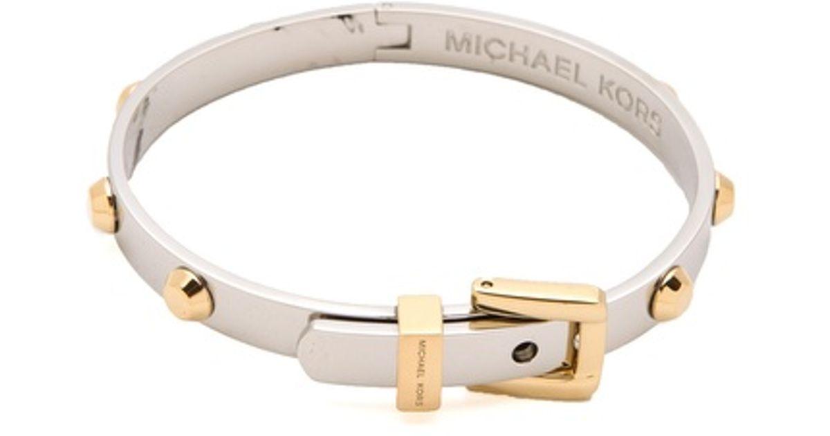 Lyst Michael Kors Astor Buckle Bangle In Metallic
