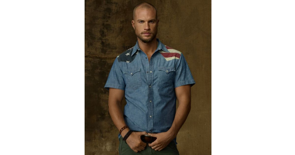 28c403c3d4 Lyst - Denim   Supply Ralph Lauren Flag Chambray Shirt in Blue for Men