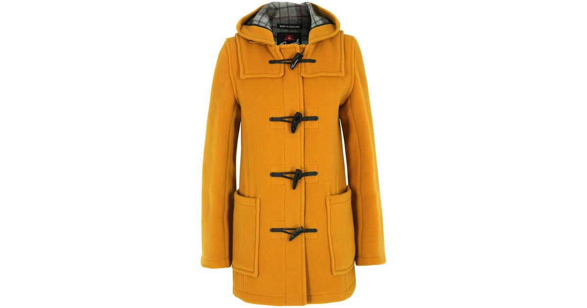 Gloverall Short Slim Fit Mustard Duffle Coat in Yellow | Lyst