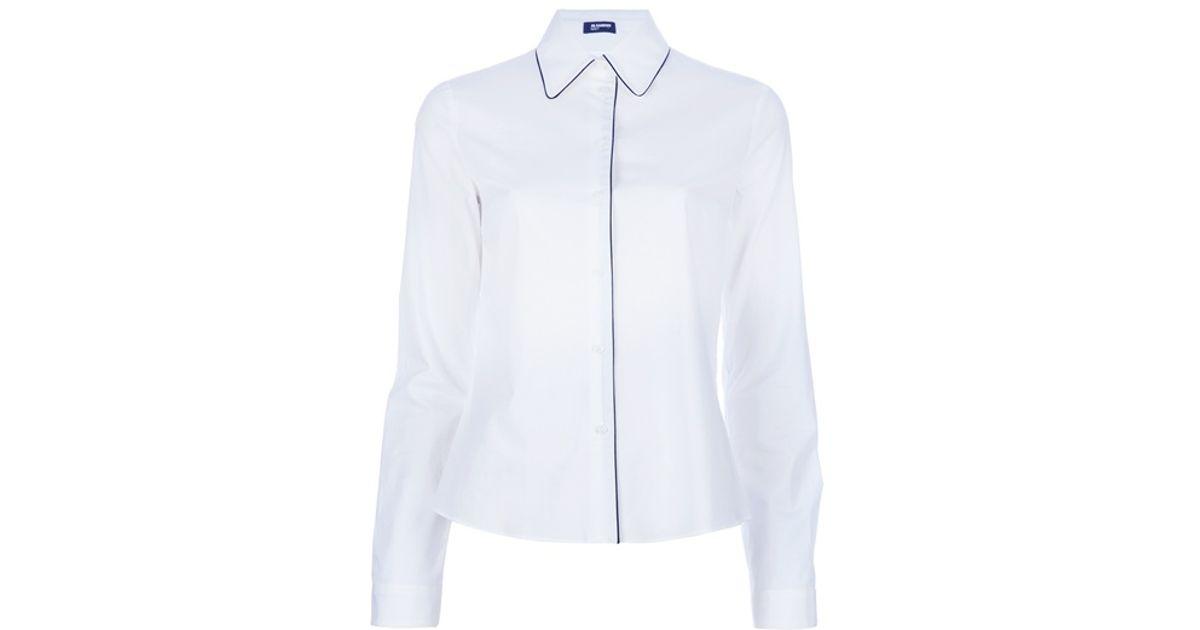 d110acb0 Jil Sander Navy Pipe Trim Shirt in White - Lyst