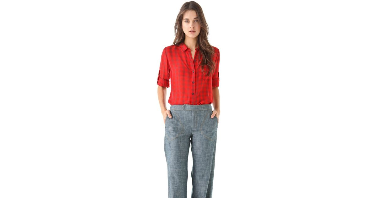 a3c6bc82369798 Lyst - Madewell Gingham Silk Boy Shirt in Red