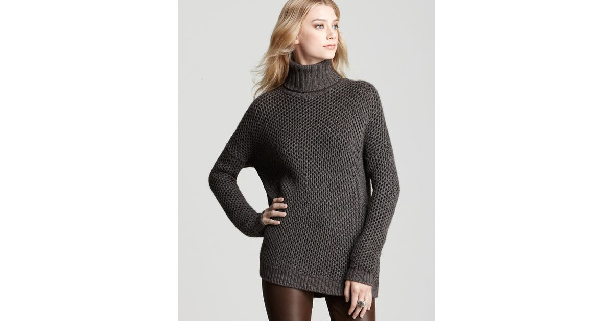 974400b4cc Vince Turtleneck Sweater Textured Honeycomb in Gray - Lyst