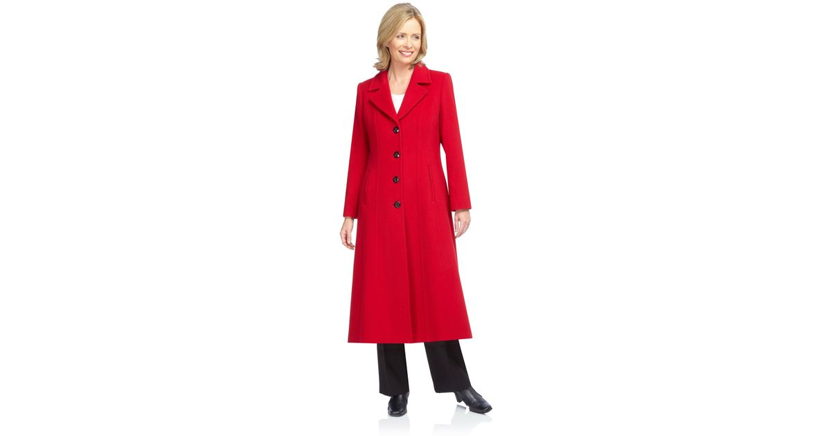 Jacques vert Long Red Coat in Red | Lyst