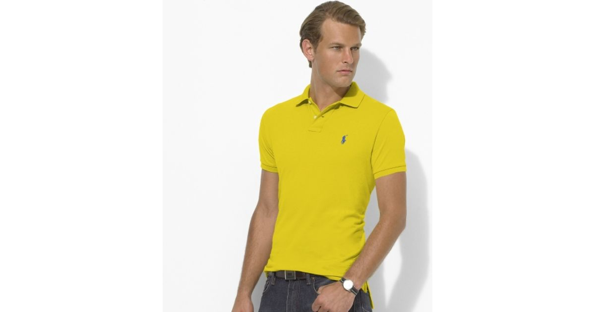Ralph Lauren Men Custom-Fit Mesh Polo Light Yellow