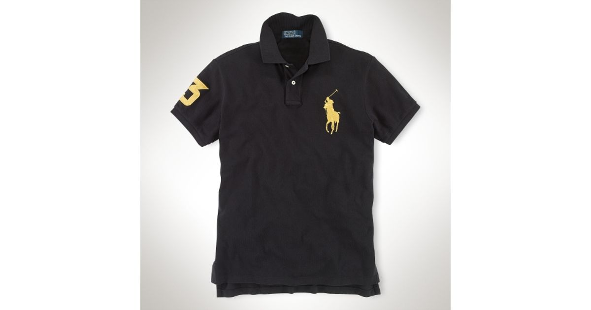 Polo ralph lauren Customfit Big Pony Polo in Black for Men (polo black gold)