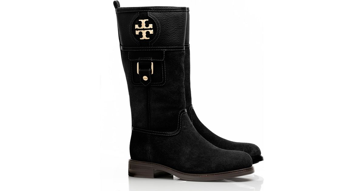 c9c9570622e9d0 Tory Burch Alaina Mid Calf Boot in Black - Lyst