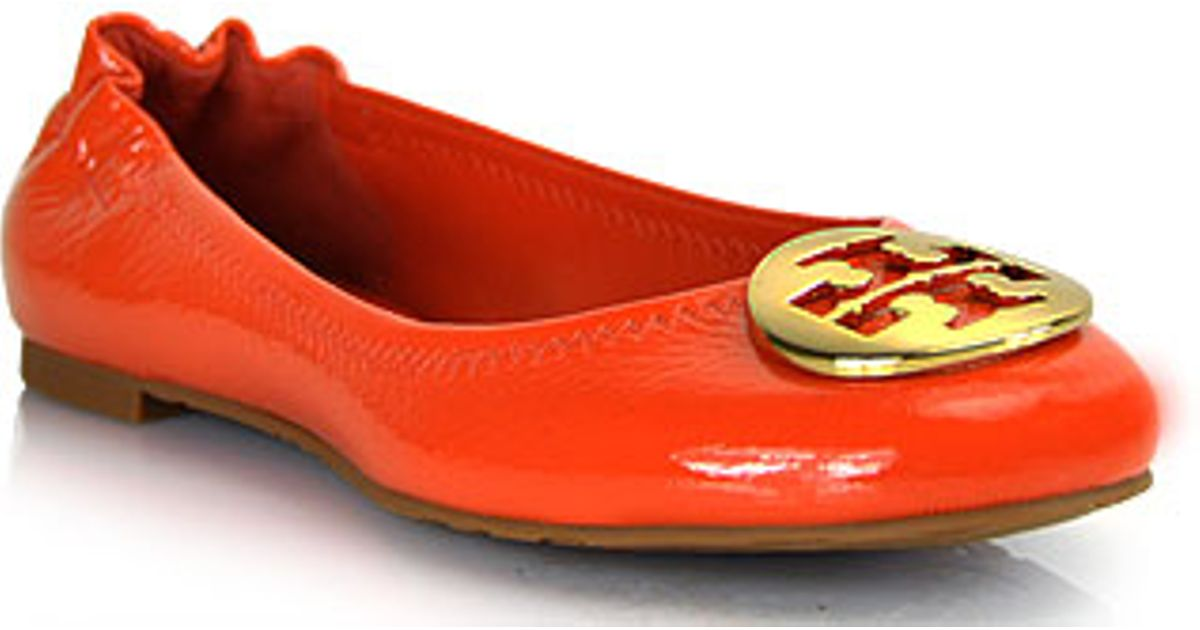 a76f830a7 ... wholesale lyst tory burch reva orange tumbled patent leather ballet flat  in orange cf77e 3f0dc