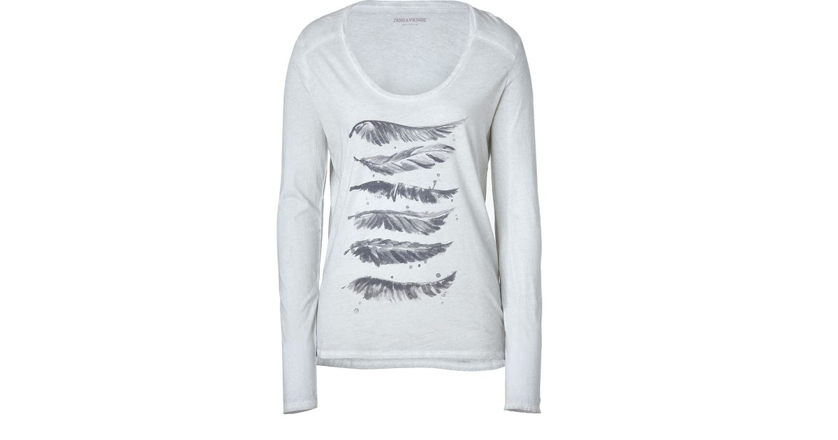 lyst zadig voltaire light grey heather kit feather print tshirt