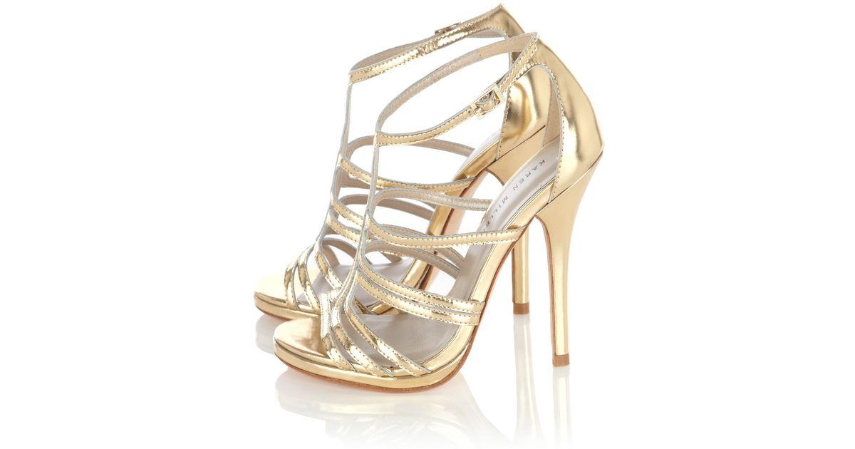 2051becda0 Karen Millen Strappy Metallic Sandal in Metallic - Lyst