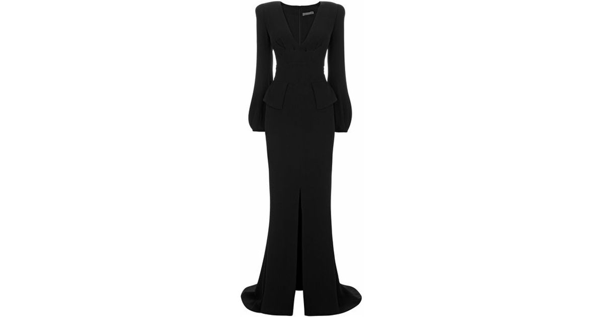 Lyst - Alexander Mcqueen Bell Sleeve Floor Length Gown in Black