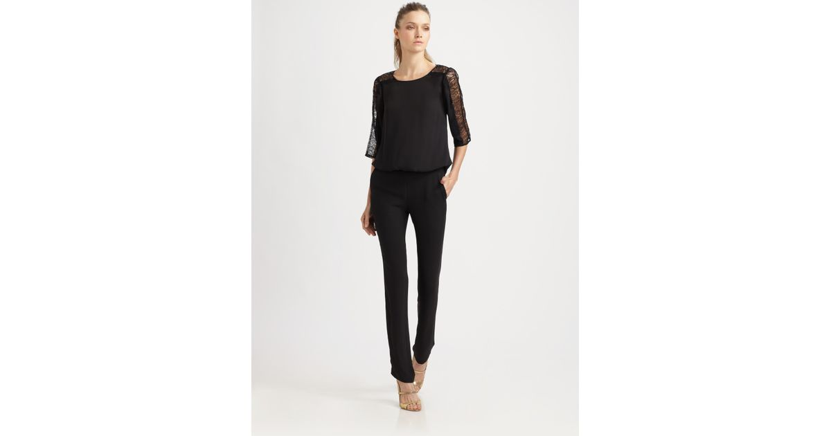 Bcbgmaxazria Lace Sleeve Jumpsuit in Black | Lyst