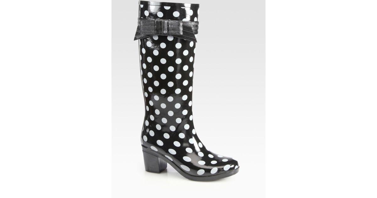 fd625ec8271a Lyst - Kate Spade Randi Too Polka Dot Rain Boots in White