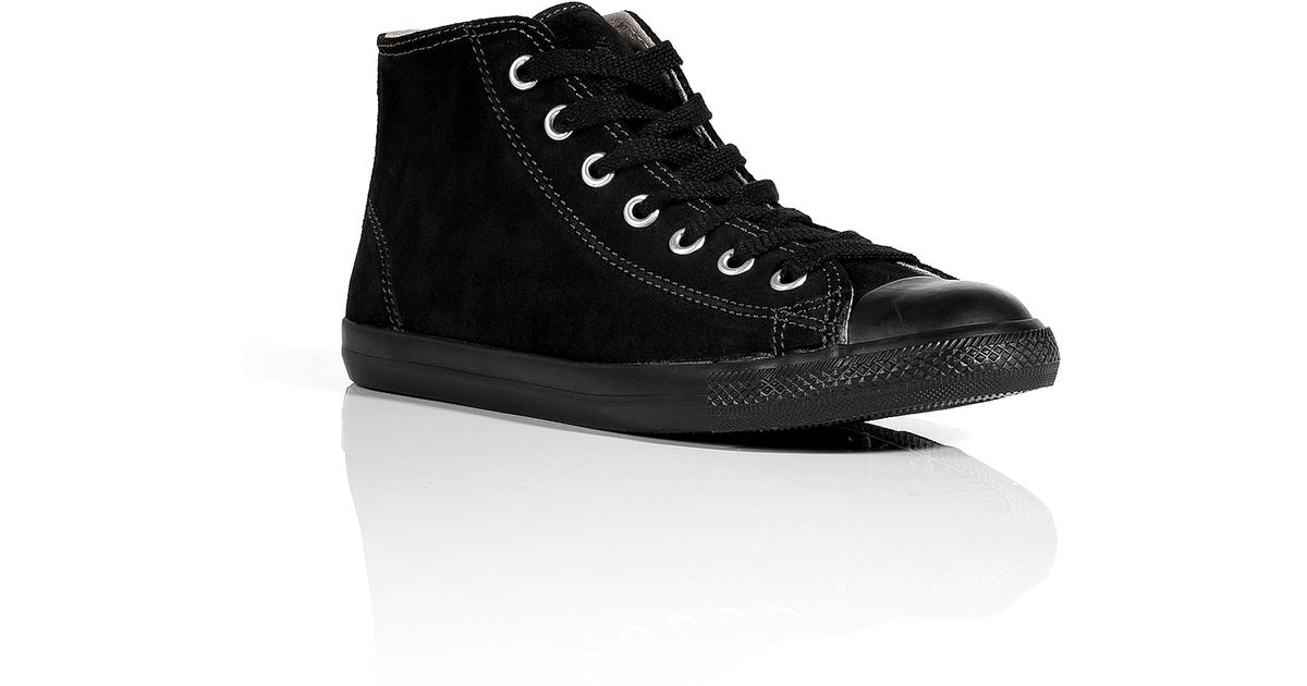 717645ac382 Lyst - Converse Black Suede All Star Dainty Mid Sneakers in Black