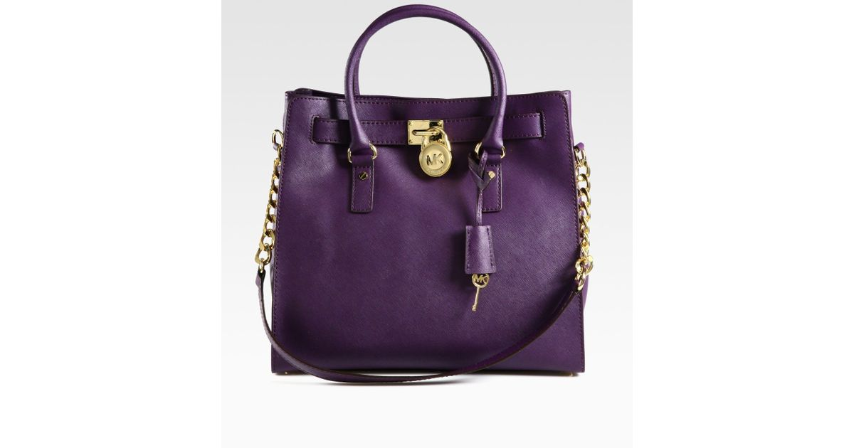 2a6f1a2ddc42a1 MICHAEL Michael Kors Hamilton Large Northtosouth Tote Bag in Purple - Lyst