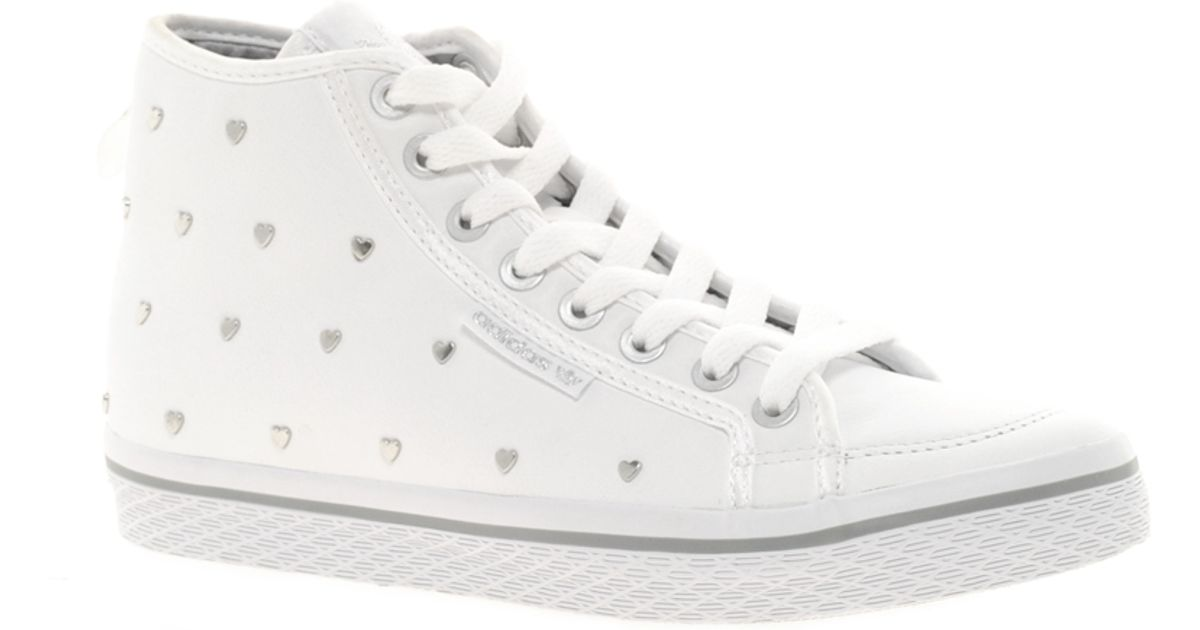 adidas Honey Silver Heart Mid Trainers in White - Lyst 9eb06351a