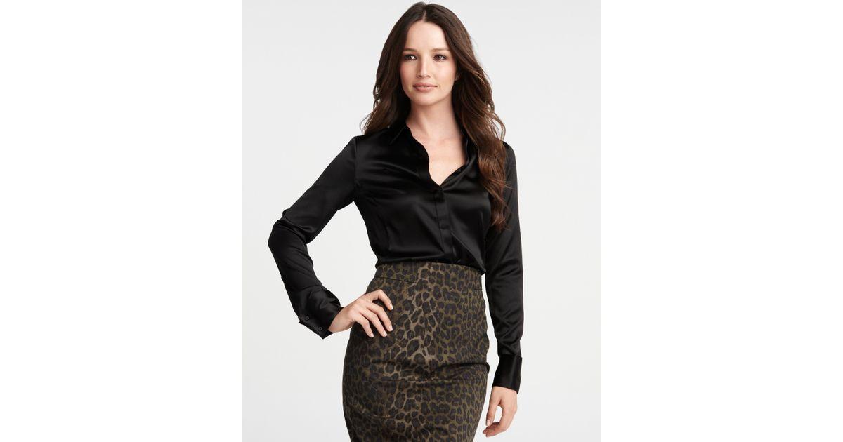 21eab27ebcc39f Ann Taylor Silk Charmeuse Long Sleeve Legacy Blouse in Black - Lyst
