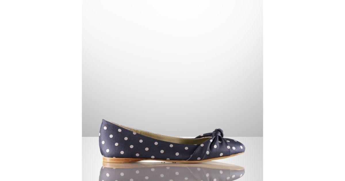 b2b0838317845 Ralph Lauren Collection Tadita Polkadot Ballet Flat in Blue - Lyst