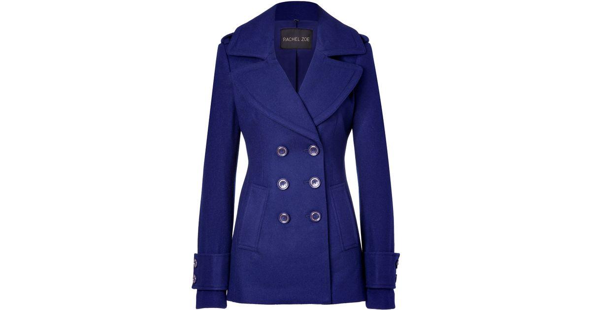 Rachel zoe Royal Blue Woolblend Fay Pea Coat in Blue   Lyst