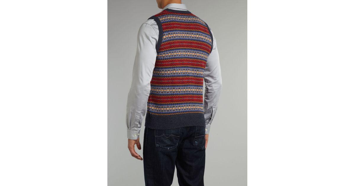 Lyst - Gant V Neck Fairisle Vest in Blue for Men