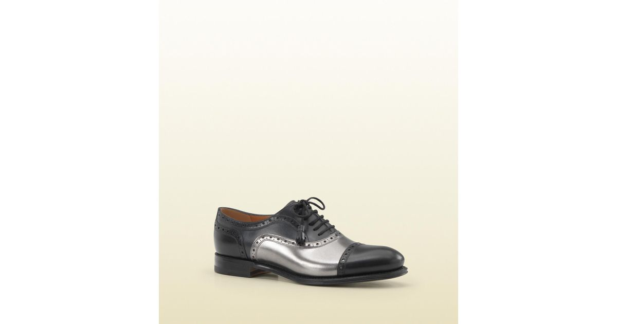 f88a286c60d Lyst - Gucci Cambridge Terracotta Shaded Patent Leather Brogue Oxford in  Black