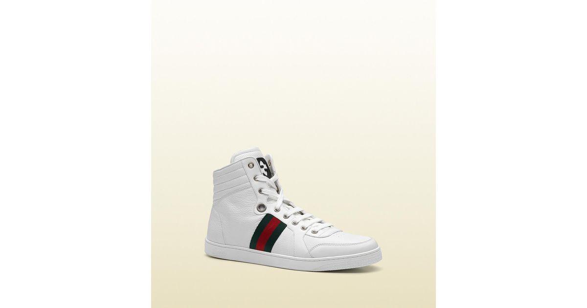 537725b1e10 Lyst - Gucci Coda Striped Leather Trainers in White for Men