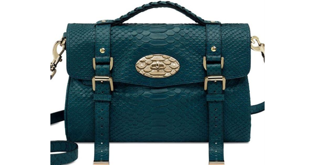 b0da5791cf Lyst - Mulberry Medium Alexa Silky Snake Print Bag in Blue