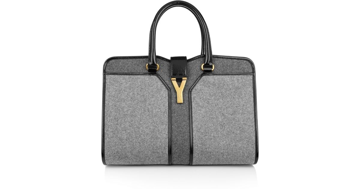 Lyst - Saint Laurent Cabas Chyc Medium Woolfelt and Patent Leather Tote in  Gray 84e2aeeddb