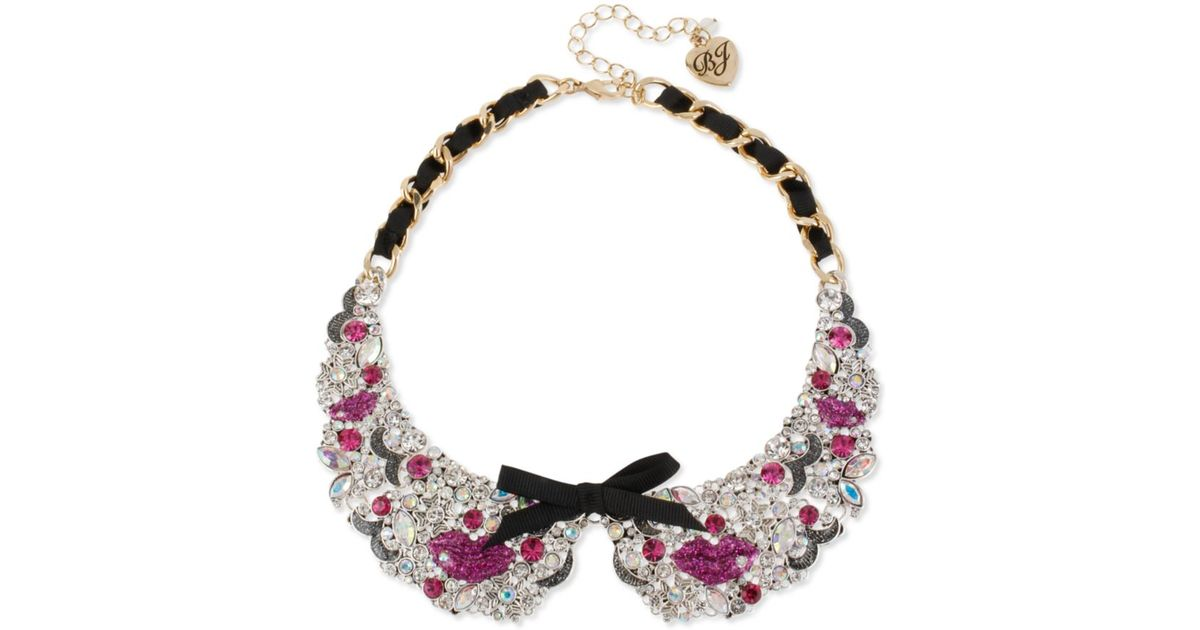 Lyst - Betsey Johnson Antiqued Gold Tone Pink Lips Black Ribbon ...