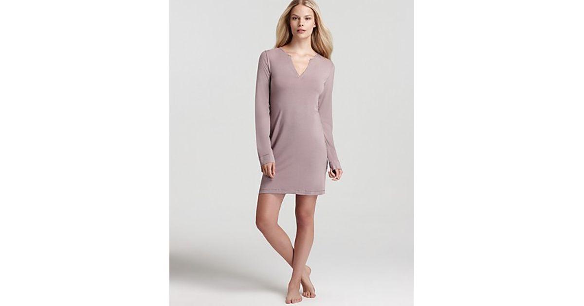 Lyst Calvin Klein Underwear Essentials Long Sleeve Nightdress In Purple