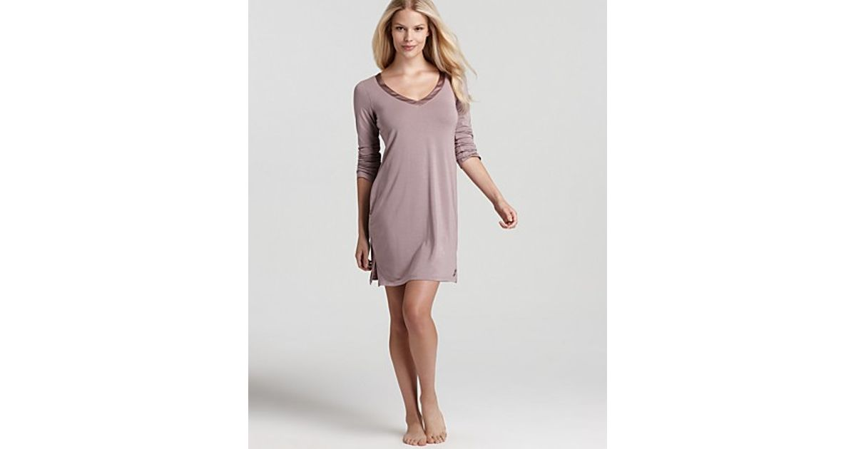 Lyst Calvin Klein Underwear Essentials Nightdress With Shelf Bra Satin Trim In Purple