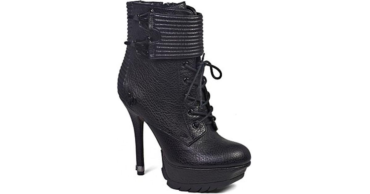 216c533a32ccb Lyst - Sam Edelman Lace Up Platform Booties Vixen in Black