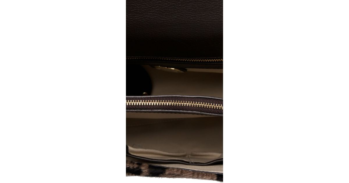 72d912f57d6 Lyst - Tory Burch Medium Haircalf Top Bag in Natural